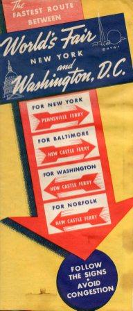 1939 Route from Washington, DC featuring ferries