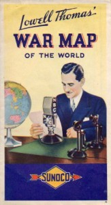 Many civilians followed the progress of WWII on maps promoting Company sponsored news reports.